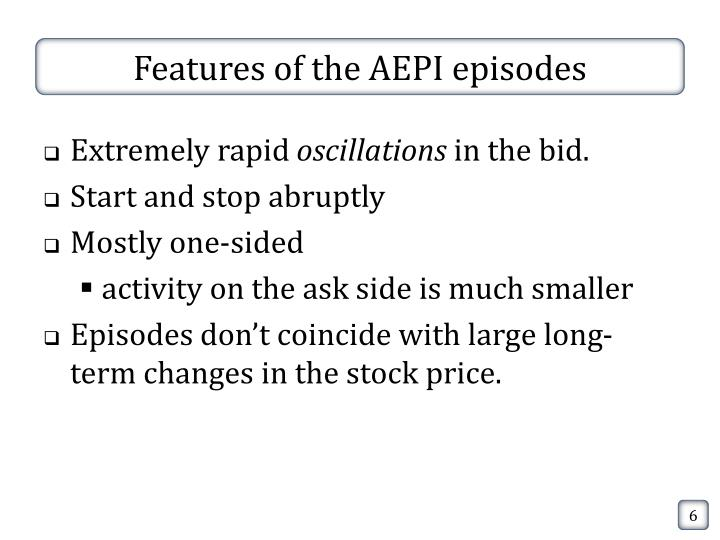 Features of the AEPI episodes
