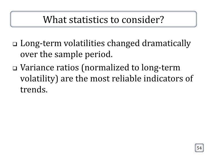 What statistics to consider?