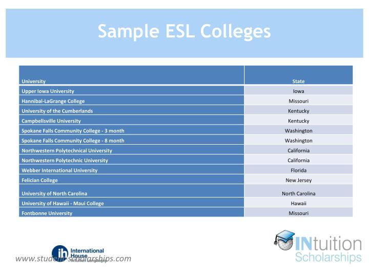 Sample ESL Colleges