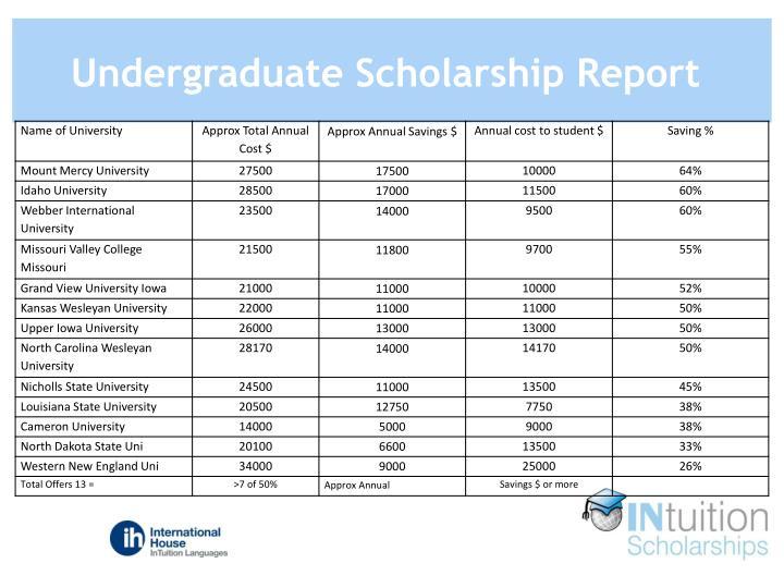 Undergraduate Scholarship Report