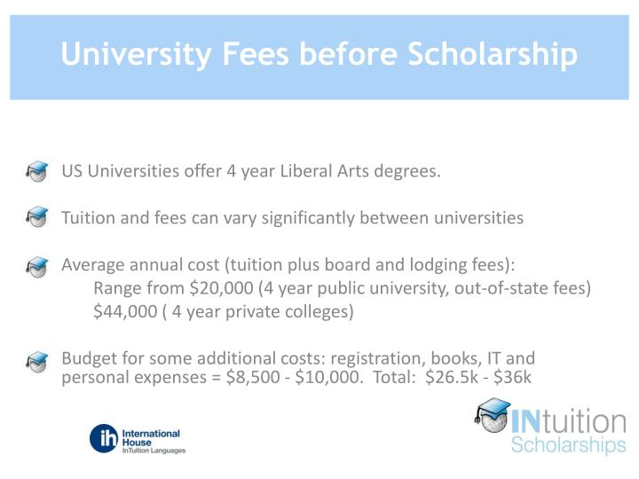 University Fees before Scholarship