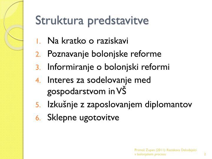 Struktura predstavitve