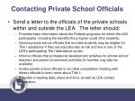contacting private school officials