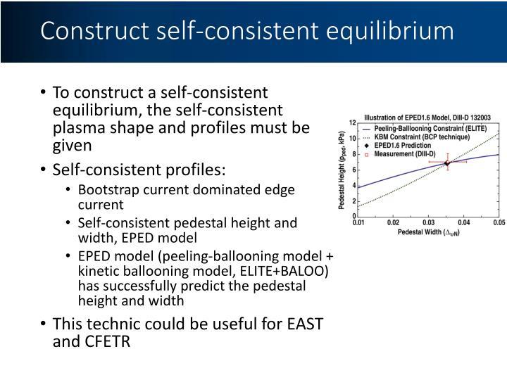 Construct self-consistent equilibrium