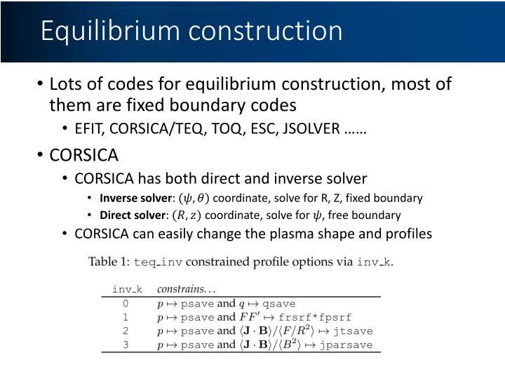 Equilibrium construction