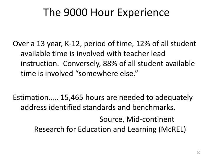 The 9000 Hour Experience