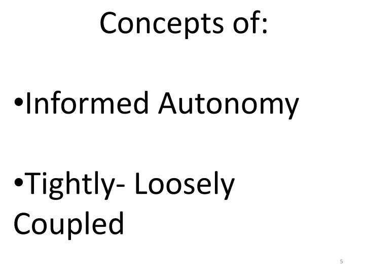 Concepts of: