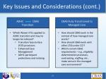 key issues and considerations cont