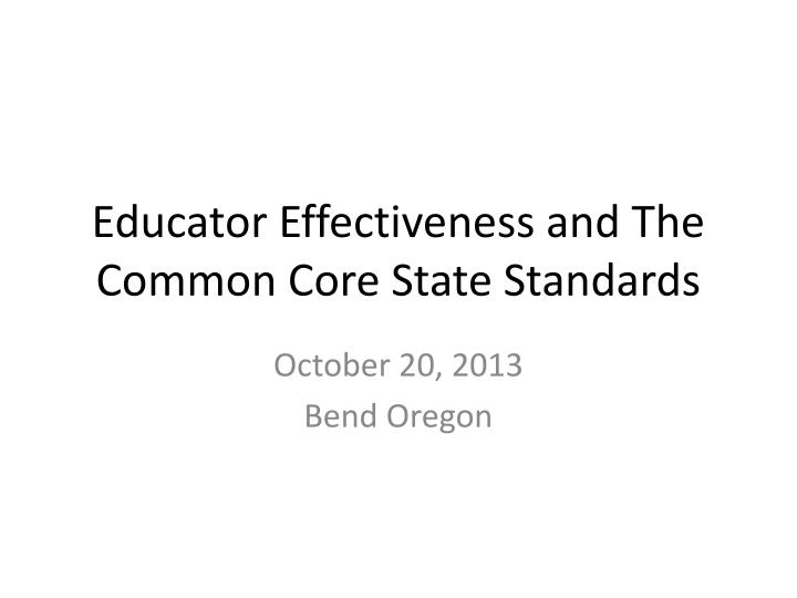 educator effectiveness and the common core state standards n.