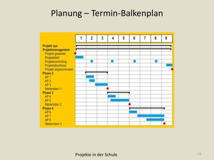 Planung – Termin-Balkenplan