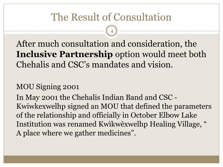 The Result of Consultation
