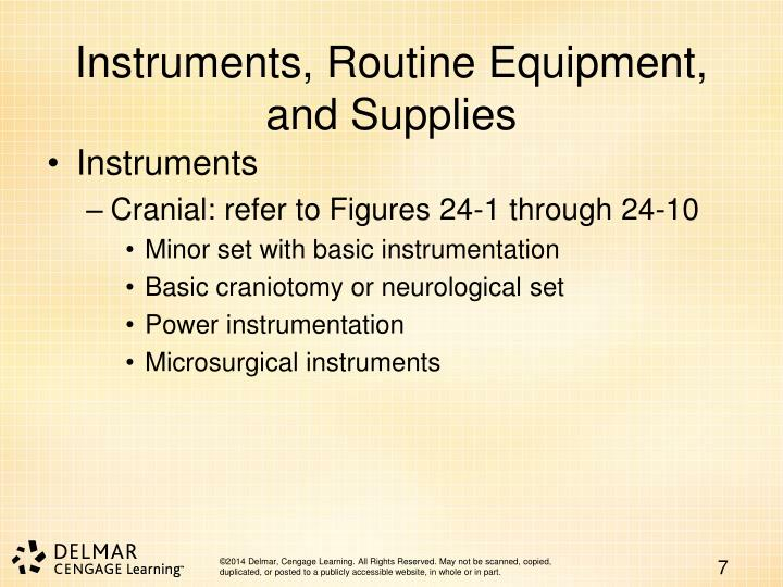 Instruments, Routine Equipment, and Supplies