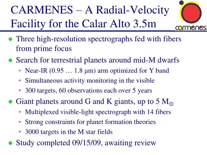 Carmenes a radial velocity facility for the calar alto 3 5m