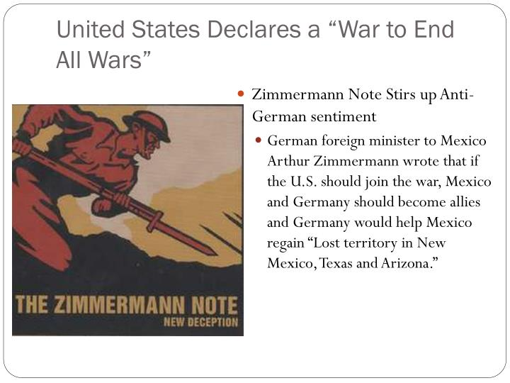 """United States Declares a """"War to End All Wars"""""""