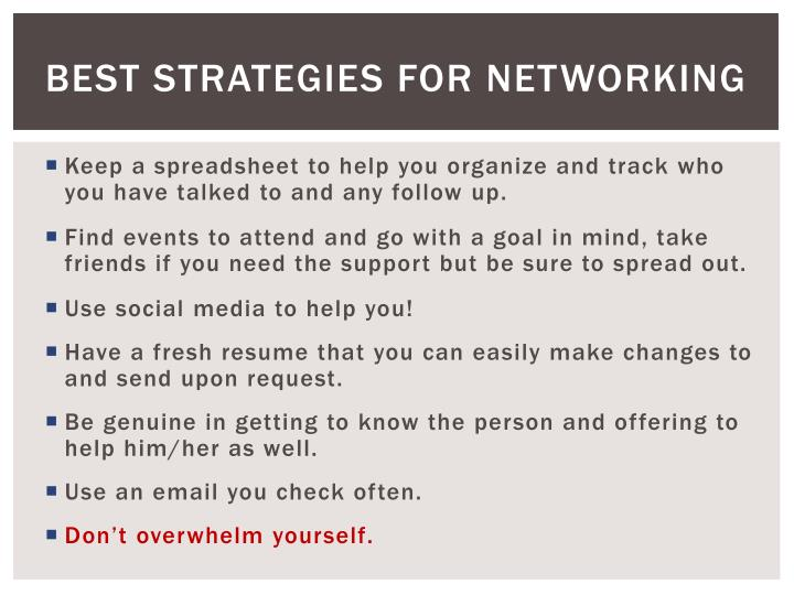 Best Strategies for networking