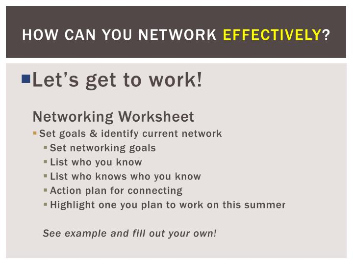 How Can You Network
