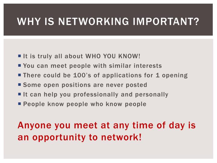 Why is Networking Important?
