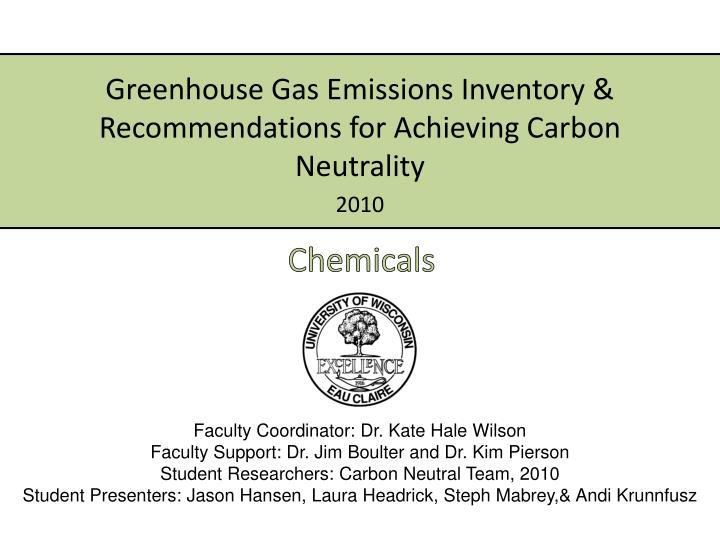 greenhouse gas emissions inventory recommendations for achieving carbon neutrality n.