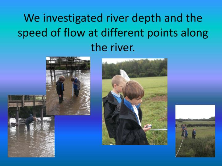 We investigated river depth and the speed of flow at different points along the river.