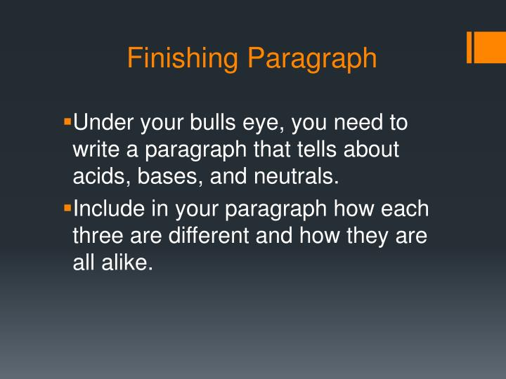 Finishing Paragraph