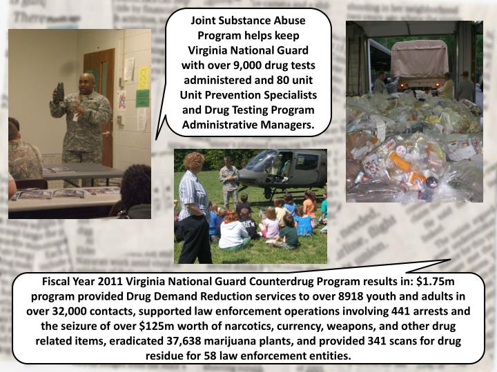 Joint Substance Abuse Program helps keep Virginia National Guard with over 9,000 drug tests administered and 80 unit