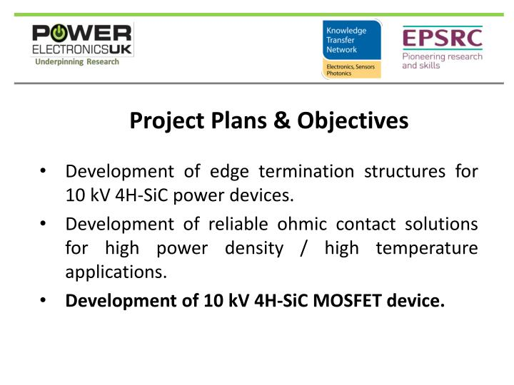 Project plans objectives