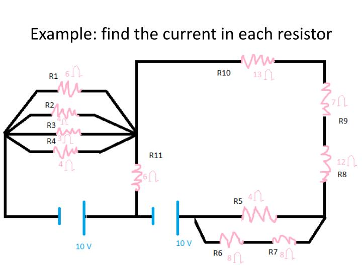 Example find the current in each resistor