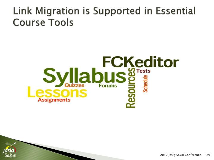 Link Migration is Supported in Essential Course Tools