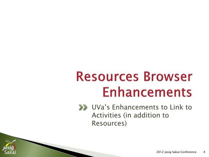 Resources Browser Enhancements