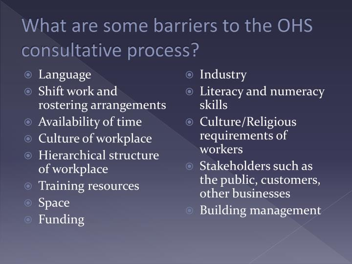 What are some barriers to the ohs consultative process