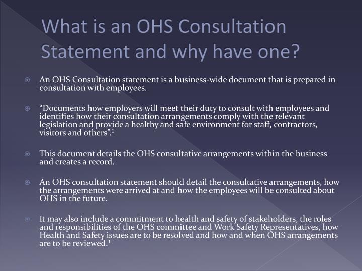What is an OHS Consultation Statement and why have one?