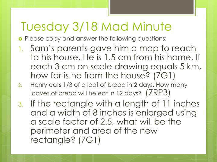 Tuesday 3 18 mad minute