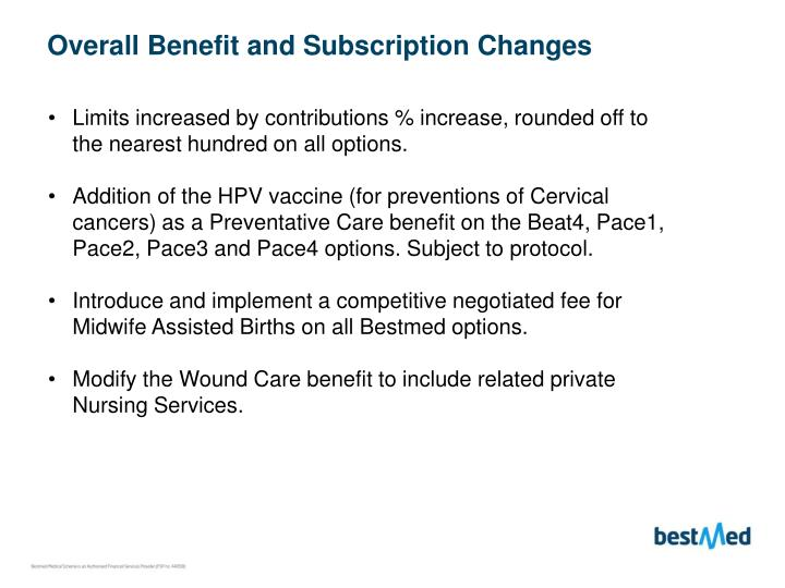 Overall Benefit and Subscription Changes