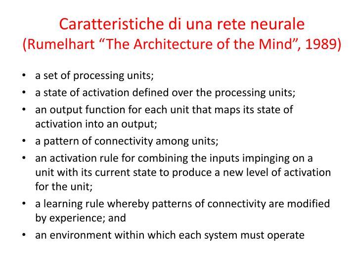Caratteristiche di una rete neurale