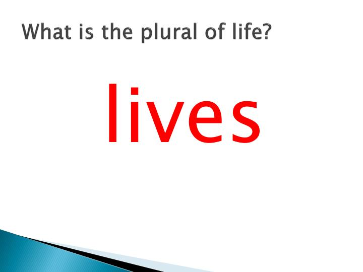 What is the plural of life?