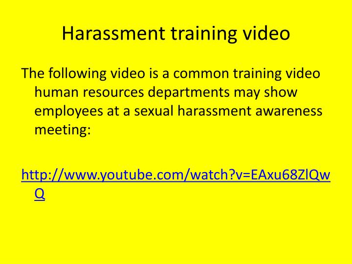 Harassment training video