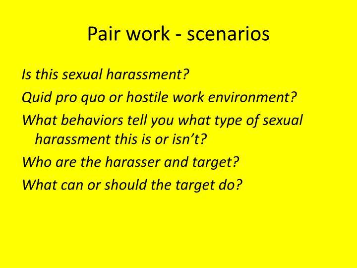 Pair work - scenarios