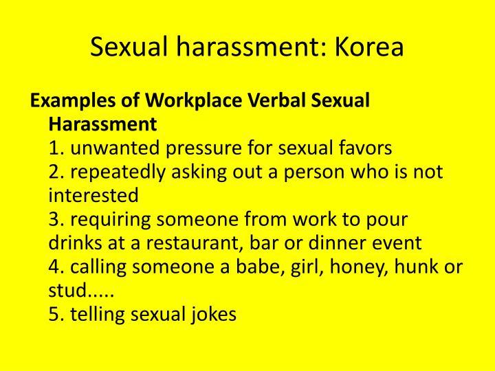 Sexual harassment: Korea