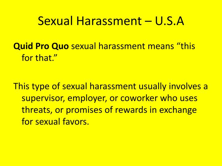 Sexual Harassment – U.S.A