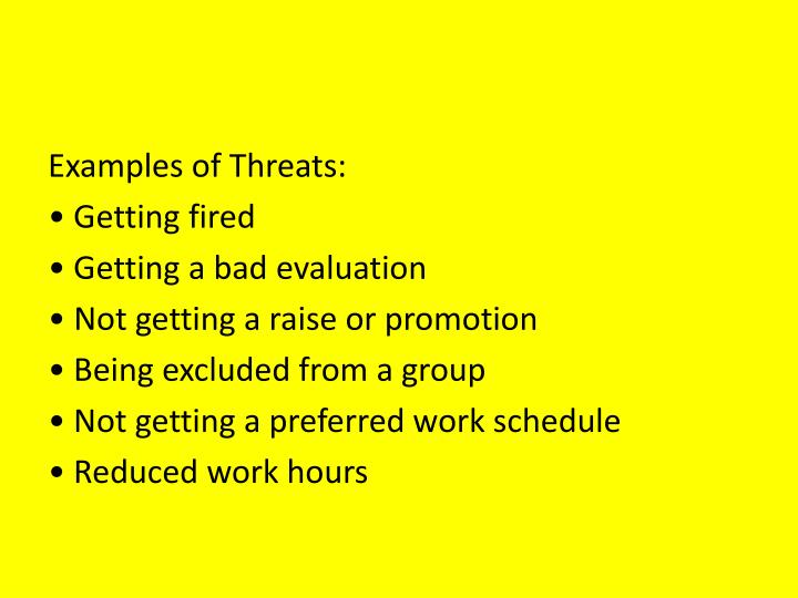 Examples of Threats: