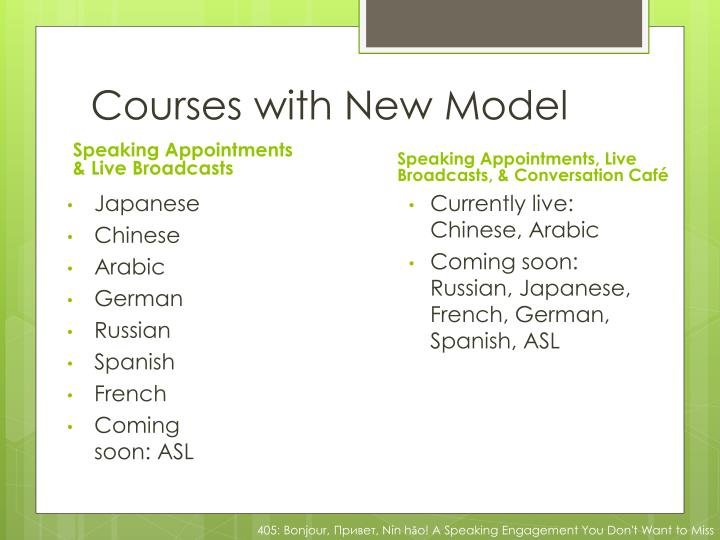 Courses with New Model