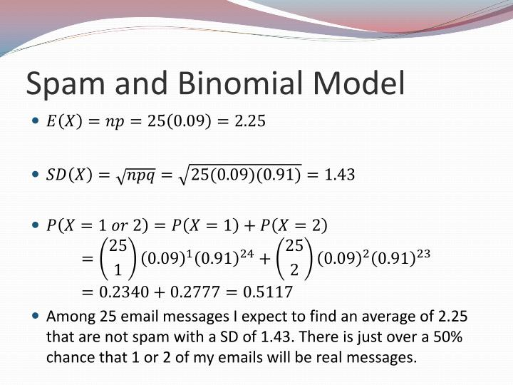 Spam and Binomial Model
