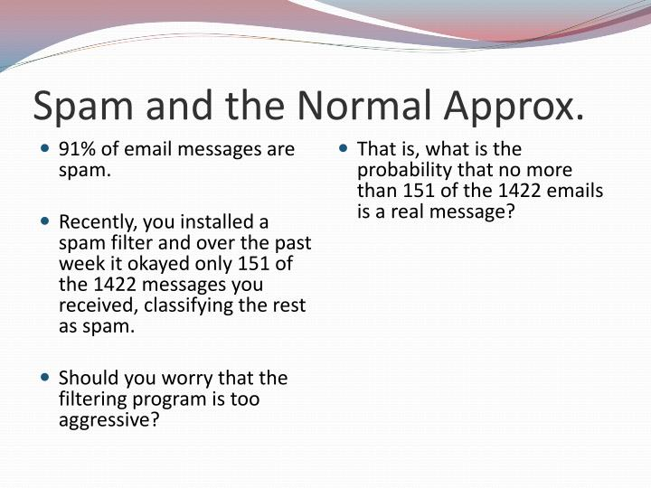 Spam and the Normal Approx.