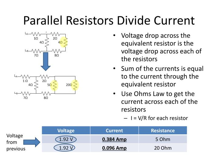 Parallel Resistors Divide Current