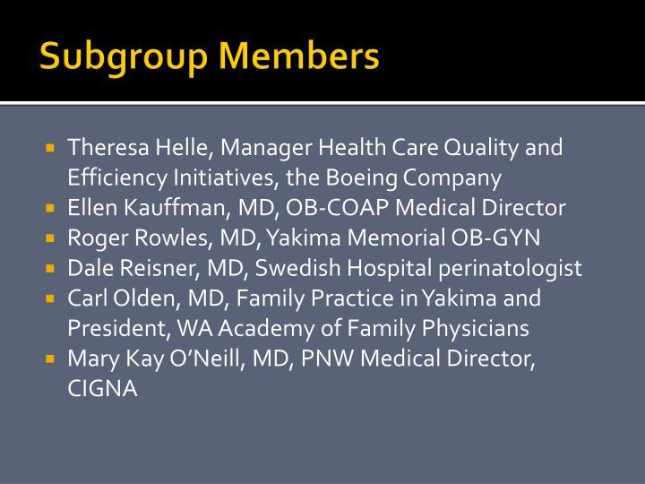 Subgroup members