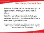 workshops events fairs