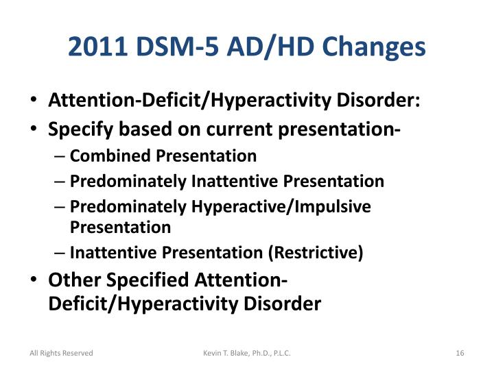2011 DSM-5 AD/HD Changes