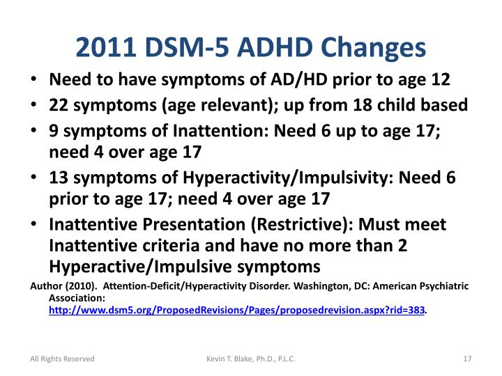 2011 DSM-5 ADHD Changes