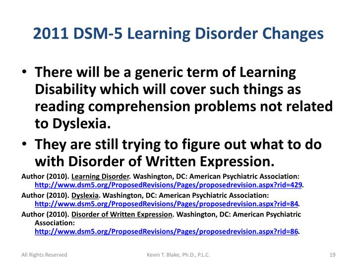 2011 DSM-5 Learning Disorder Changes