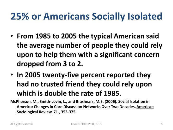 25% or Americans Socially Isolated